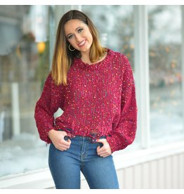 Tops 66 Confetti Sprinkle Distressed Burgundy Sweater