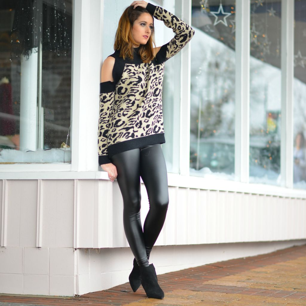 Tops 66 Cold Shoulder Leopard Sweater