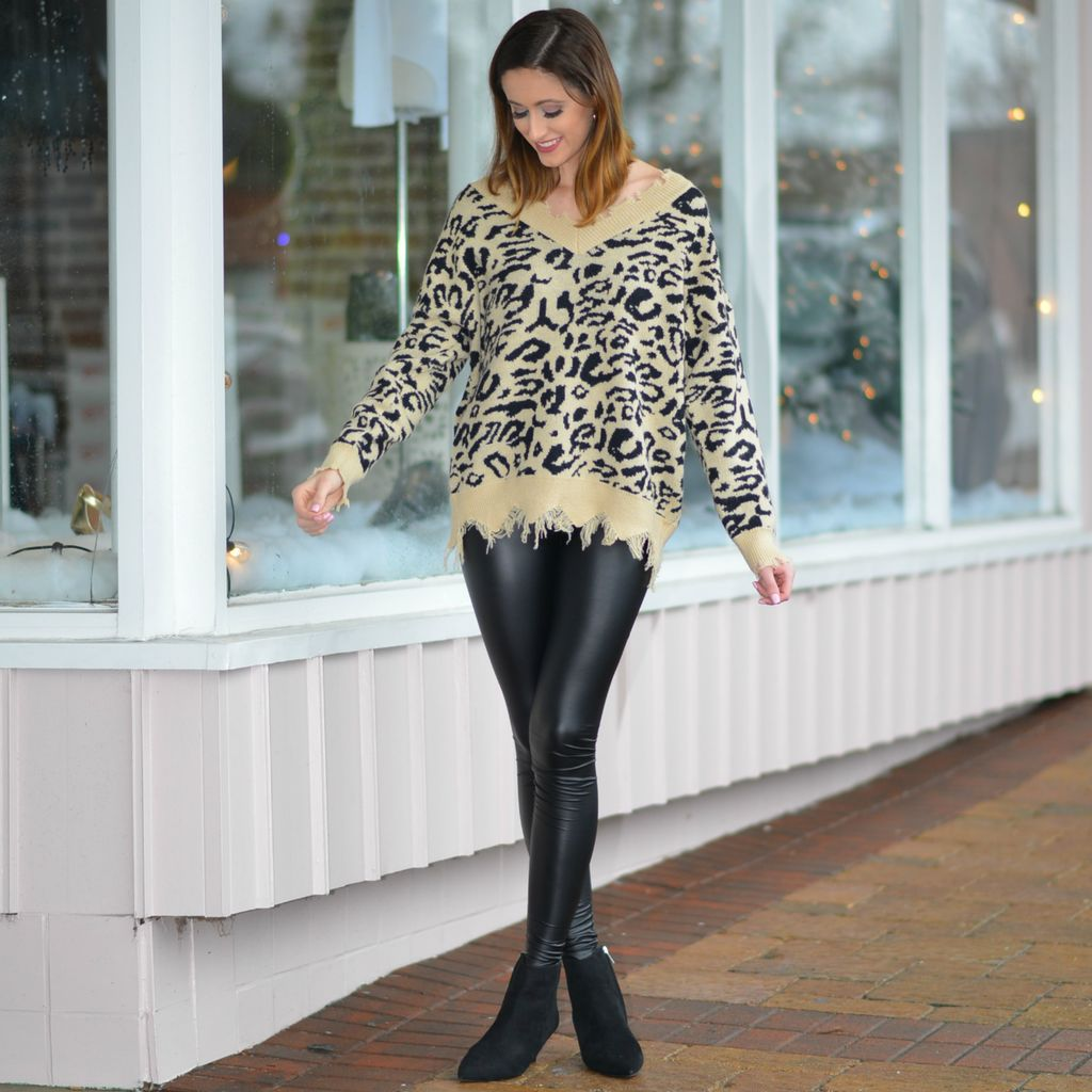 Tops 66 Love Me Distressed Bottom Leopard Sweater