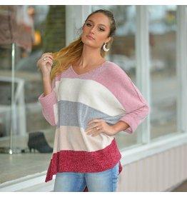 Tops 66 Winter Pastel Blush/Winterberry Stripe Sweater