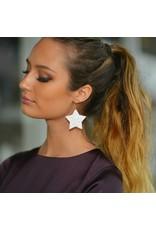 Jewelry 34 Glitter Star White Earrings