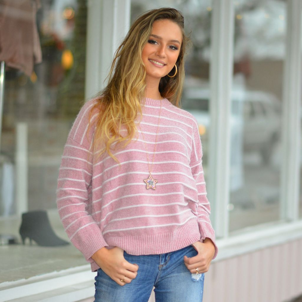 Tops 66 Winter Snuggles Blush Pink Chenille Sweater