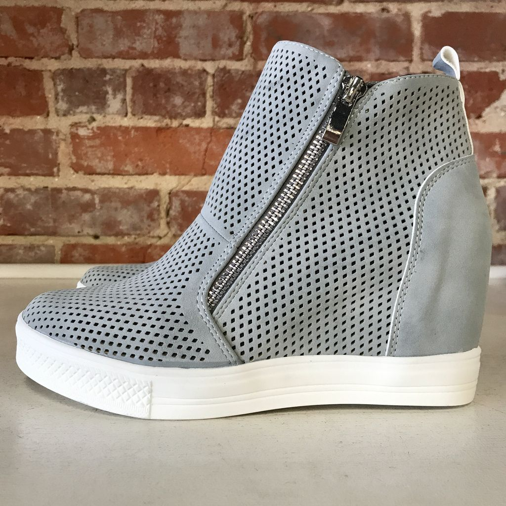 Shoes 54 Pumped Up Wedge Zipper Ash Blue Sneakers