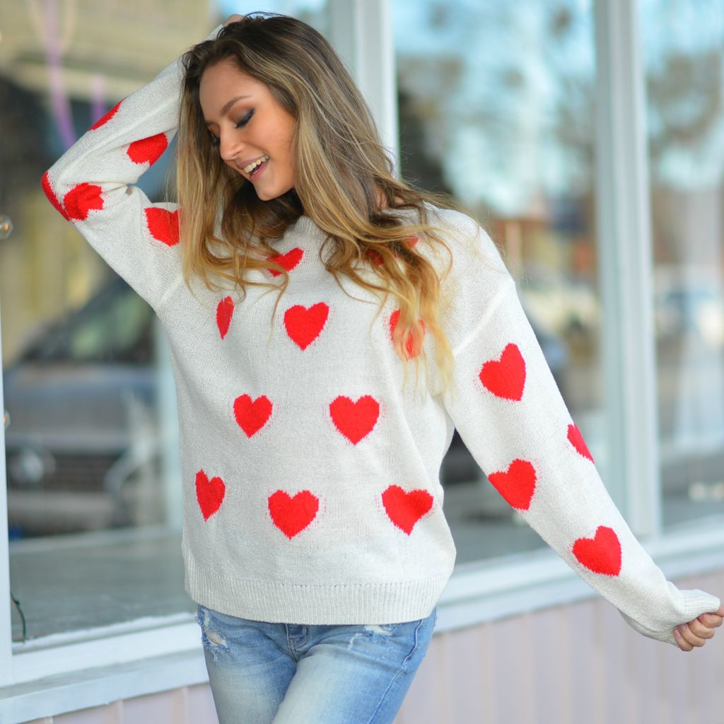 Tops 66 So Much Love Red Heart Sweater