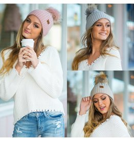 Accessories 10 Fur Pom Pom Ribbed Knit Hat