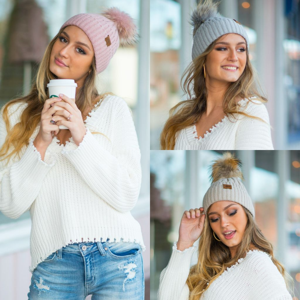 b05f1756a Fur Pom Pom Ribbed Knit Hat - Cousin Couture