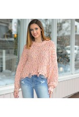 Tops 66 Confetti Sprinkle Distressed Pink Sweater