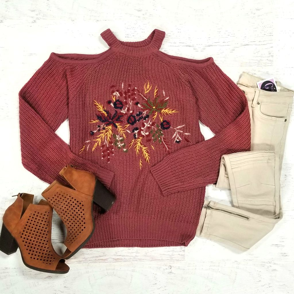 Tops 66 Count On It Cold Shoulder  Embroidered Sweater