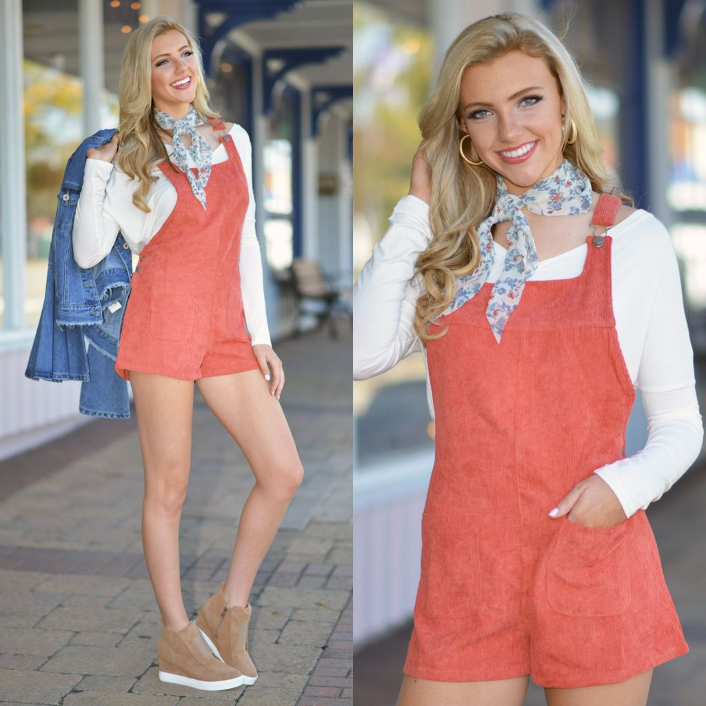Rompers 48 Fall Forward Pumpkin Corduroy Overalls