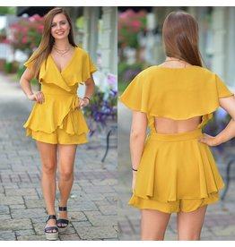 Rompers 48 Fall Wrap & Open Back Marigold Romper