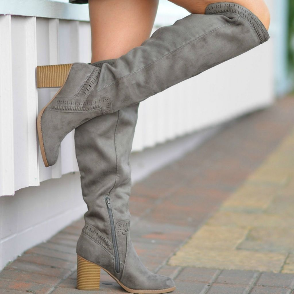 Shoes 54 Walk Into Winter Suede Grey Tall Boot