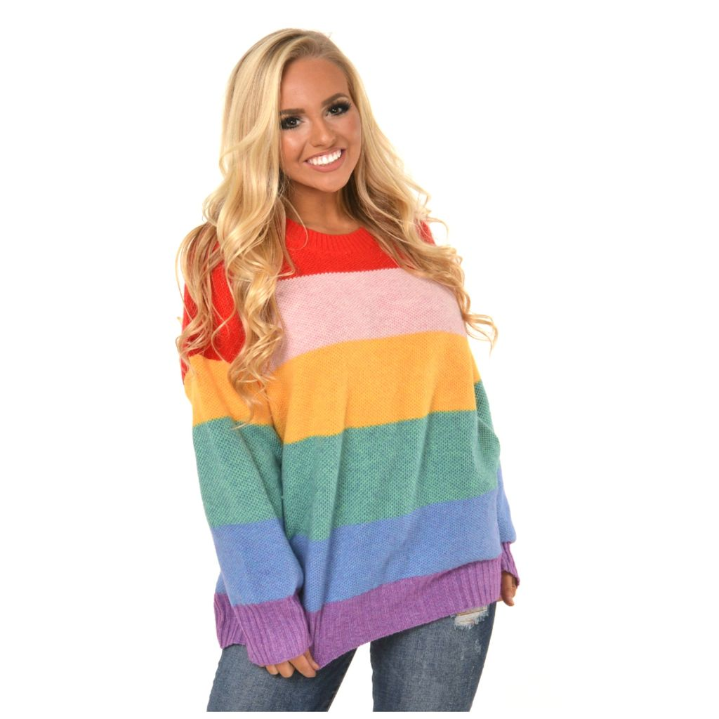 Tops 66 Colorful World Stripe Sweater