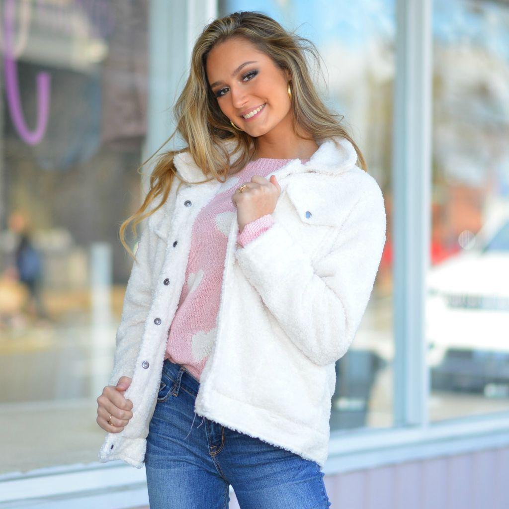 Outerwear Button Front White Fleece Jacket