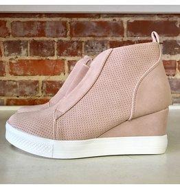 Shoes 54 Serita Suede Blush Wedge Sneaker