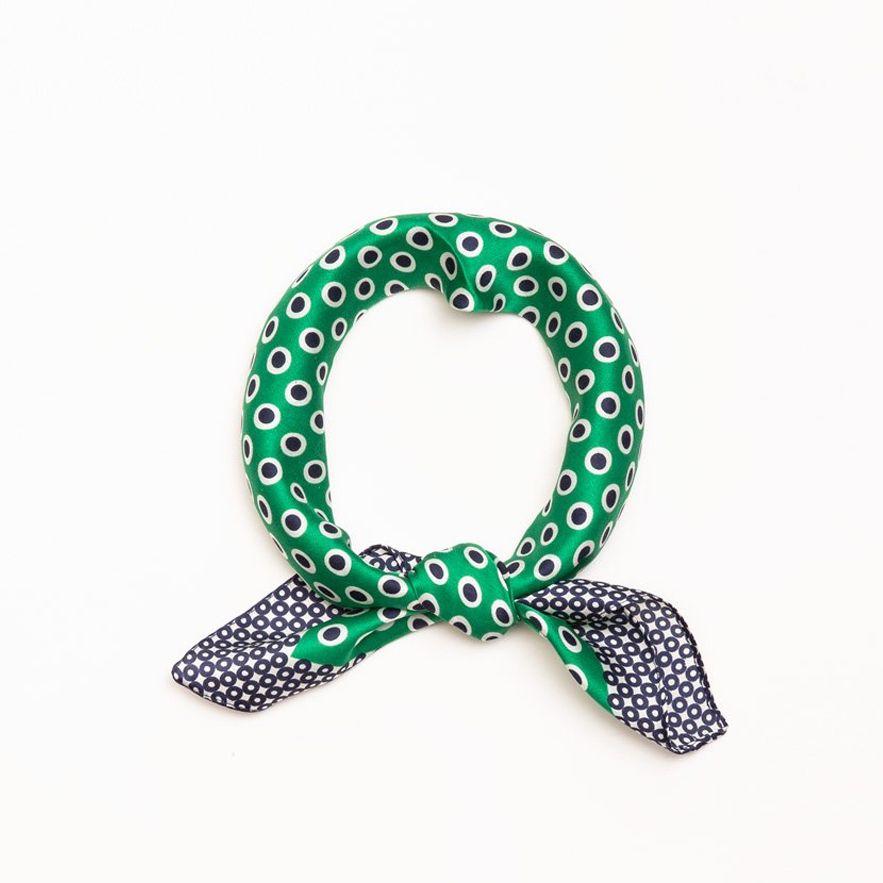 Accessories 10 Color Dots Silk Green Bandana Scarf