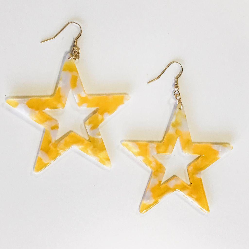 Jewelry 34 Acrylic Star Dangle Earrings