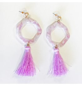 Jewelry 34 Acrylic Wacy Circle Tassel Earrings