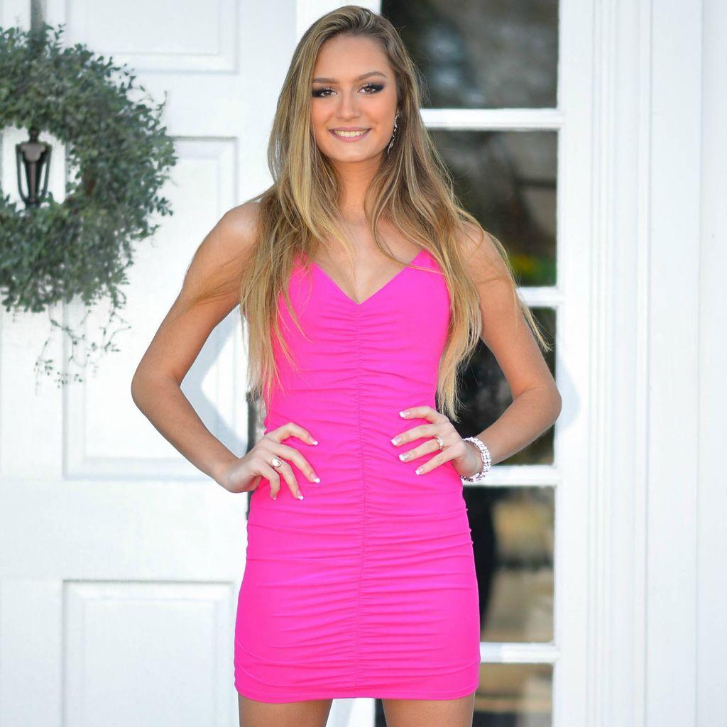 Dresses 22 Sweet Surrender Hot Pink Ruched Dress