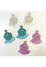 Jewelry 34 Beaded Floral Disc Tassel Earrings