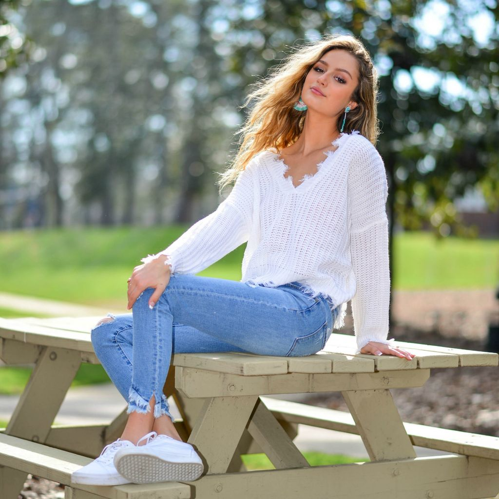 Tops 66 Spring Party Started Ivory Sweater