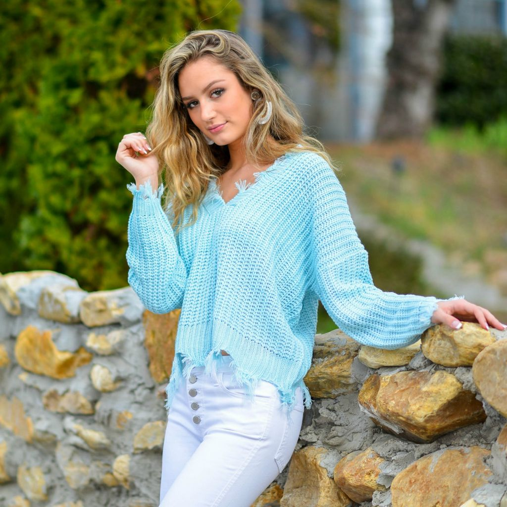 Tops 66 Spring Party Started Aqua Sweater