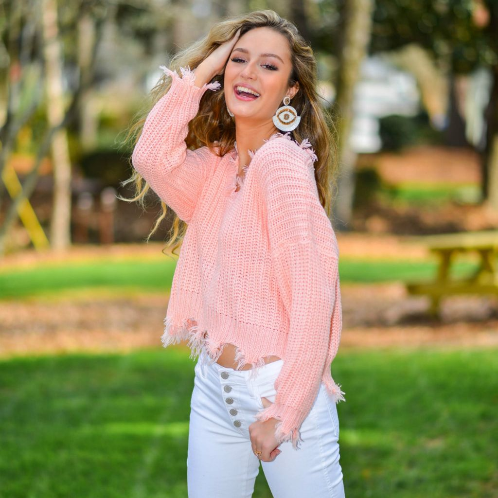 Tops 66 Spring Party Started Blush Sweater
