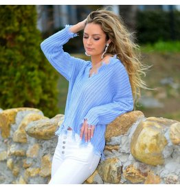 Tops 66 Spring Party Started Blue Sweater