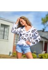 Tops 66 Leopard Distressed Ivory Sweater