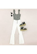 Pants 46 Move Freely White Button Front Flares
