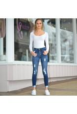 Pants 46 Button Front High Waist Skinny Dark Denim