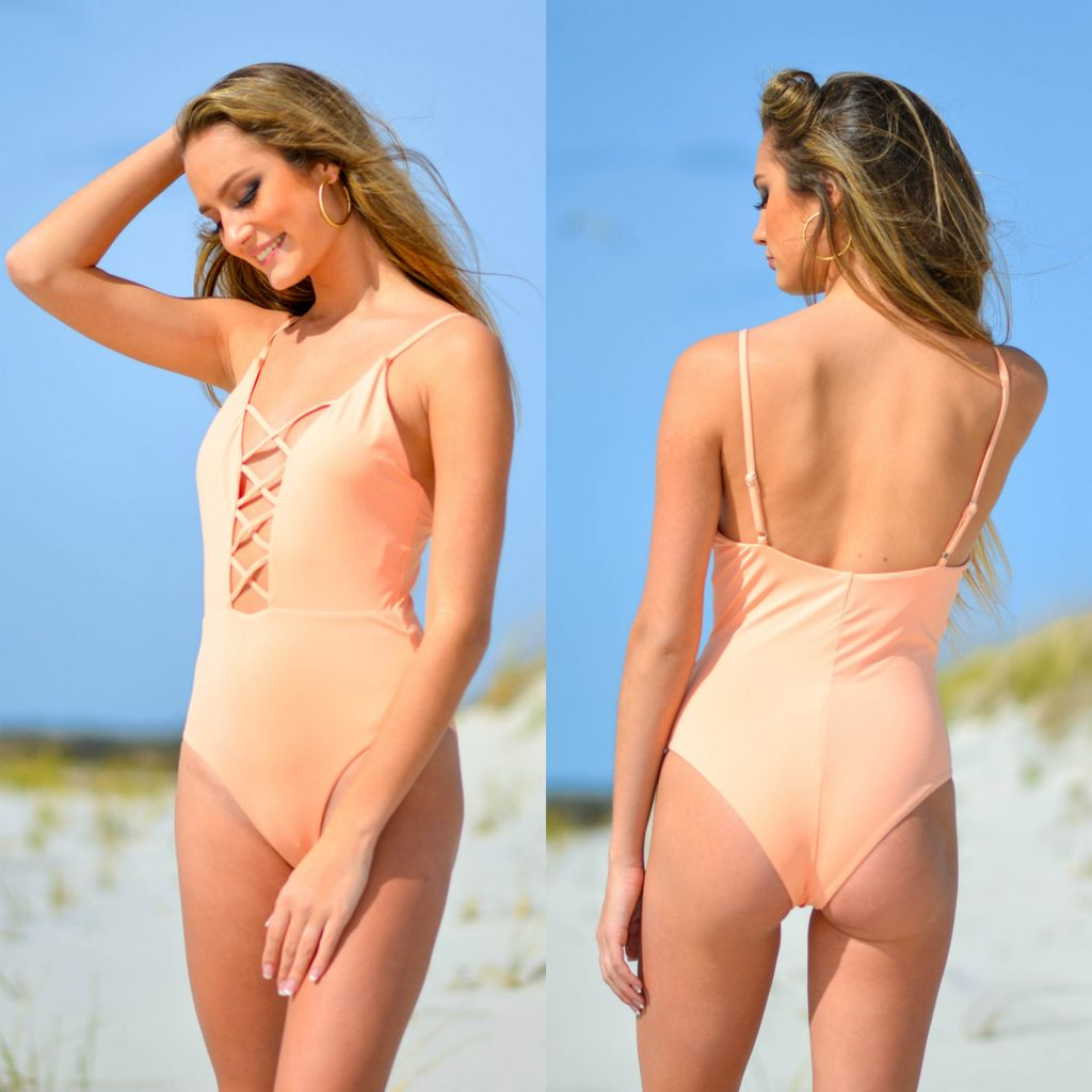 Swimsuits Caged Front Apricot One Piece Swimsuit