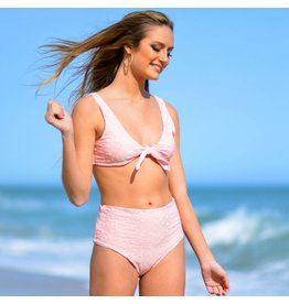 Swimsuits Seamless Moderate Coverage High Waist Pink Bottom