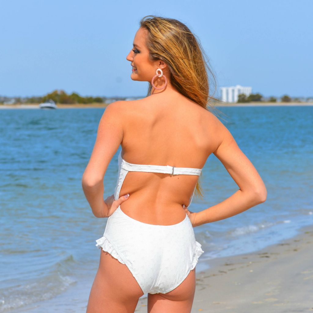 Swimsuits Ruffle Leg Open Back Cheeky White Eyelet One Piece Swimsuit