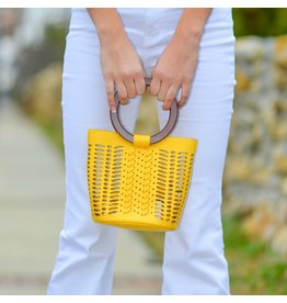 Accessories 10 Sunshine Yellow Laser Cut Wooden Handle Bucket Bag