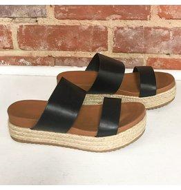 Shoes 54 Slide In Black Strappy Espadrilles
