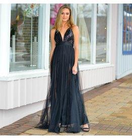 Formalwear Sequin Stunner Black Tulle Formal Dress