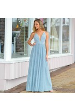 Formalwear Blue Metallic Formal Dress