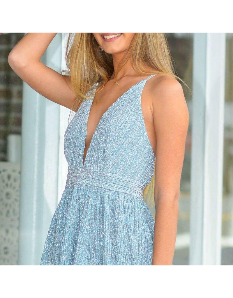 Formalwear Blue Metallic Formal Dress