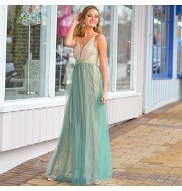 Formalwear Tulle Green Multi Formal Dress