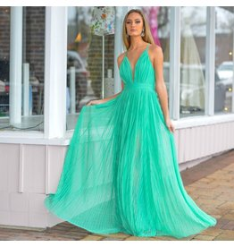 Formalwear Pleated Tulle Green Formal Dress