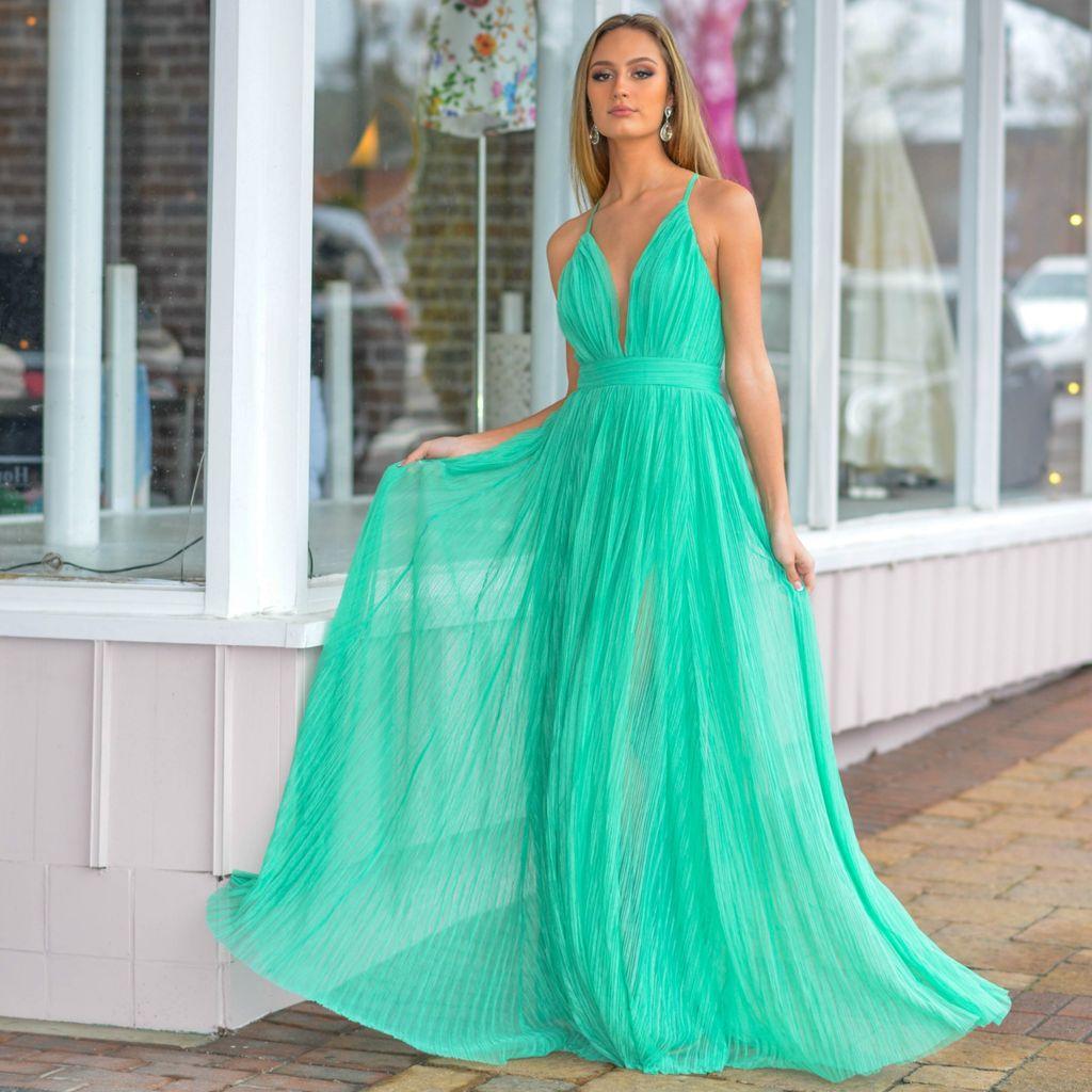 Formalwear Pleated Tulle Green Formal Dress