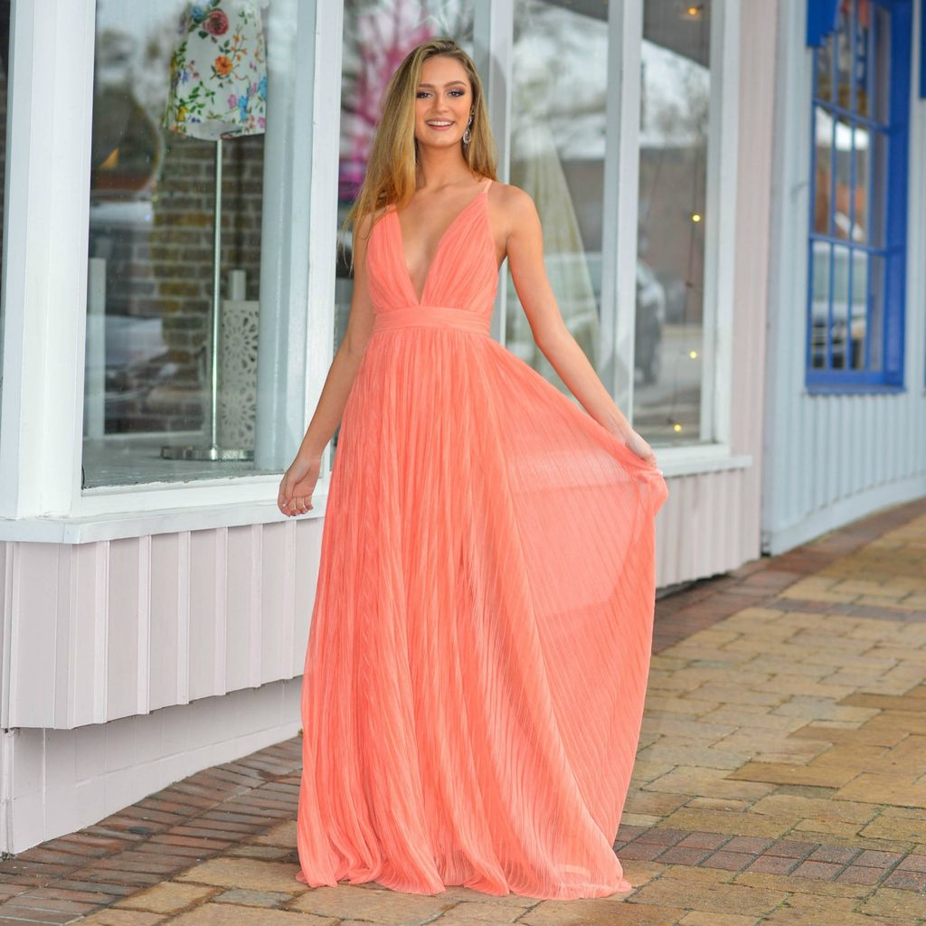 Formalwear Pleated Tulle Coral Formal Dress