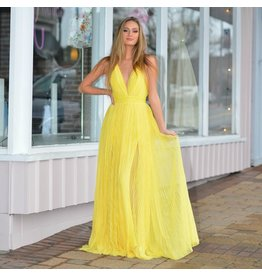 Formalwear Pleated Tulle Yellow Formal Dress