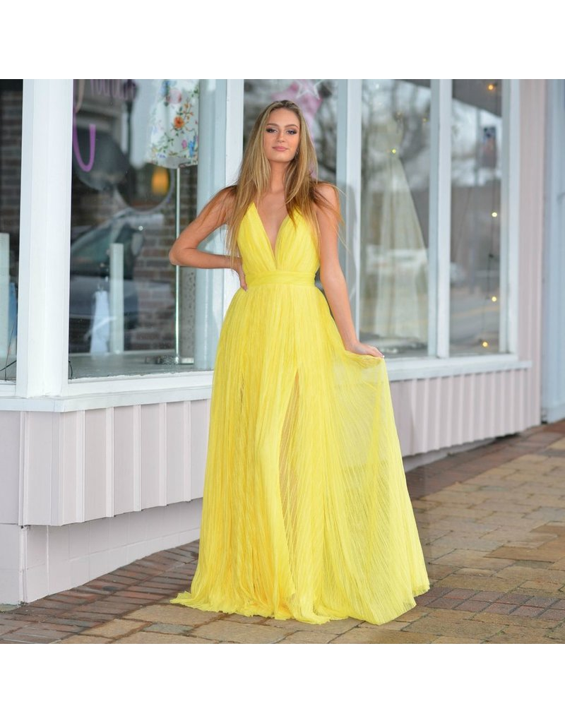 Formalwear Pleated Tulle Yellow Formal Dress