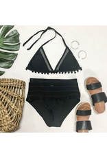 Swimsuits Just Meshing Around Black Pom Pom Black High Waist Bottom
