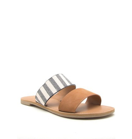 Default Band Together Tan/Stripe Slides