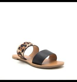 Shoes 54 Band Together Black/Leopard Slides