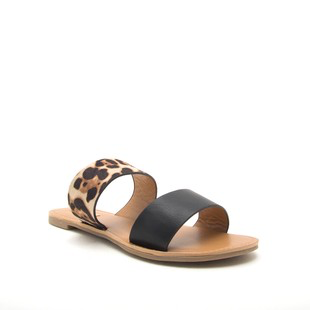 Shoes 54 Band Together Black/Leopard Slides