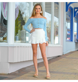 Shorts 58 Ruffle And Fun White Wrap Skort