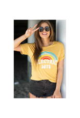 Tops 66 Electric Love Yellow Rolled Sleeve Tee